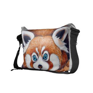 Besace Petit panda rouge sur le gris