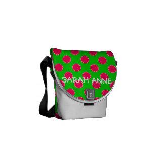 Besace Point de polka rose et vert de très bon goût