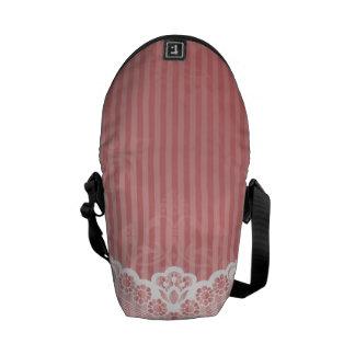 Besaces Arrière - plan rose et blanc avec la dentelle