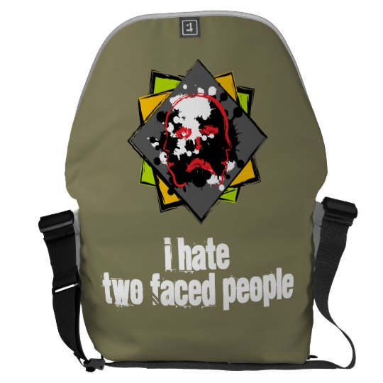 """Besaces """"I hate two faced people"""" messenger bag"""