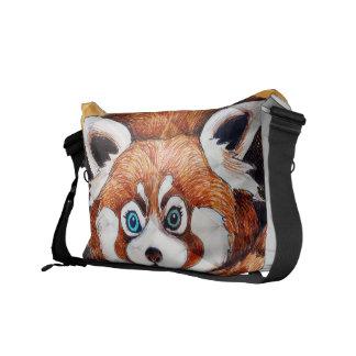 Besaces Panda rouge sur le cubisme orange Geomeric
