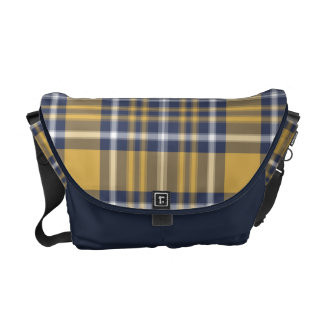 Besaces Sac messenger à plaid de bleu et d'or