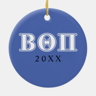 Bêta thêta lettres blanches et bleues de pi ornement rond en céramique