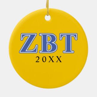 Bêtas lettres de bleu de Tau de Zeta Ornement Rond En Céramique