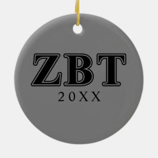 Bêtas lettres noires de Tau de Zeta Ornement Rond En Céramique
