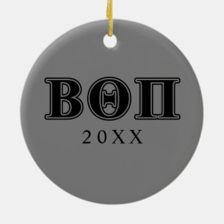 Bêtas lettres noires du thêta pi ornement rond en céramique