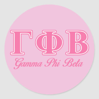 Bêtas lettres roses de phi gamma sticker rond