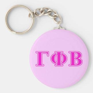 Bêtas lettres roses lumineuses de phi gamma porte-clé rond