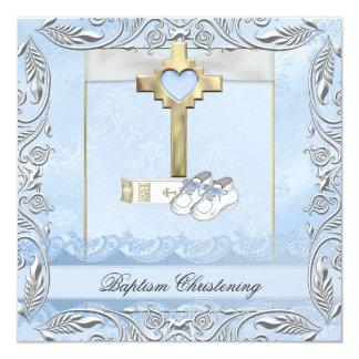 Bible croisée bleue de baptême de damassé de carton d'invitation  13,33 cm