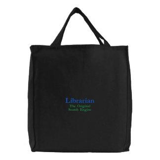 Bibliothécaire, le moteur de recherche original sac brodé