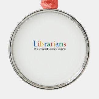 Bibliothécaires le moteur de recherche original ornement rond argenté