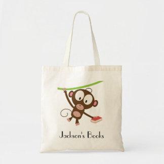 Bibliothèque de singe de livre sacs en toile