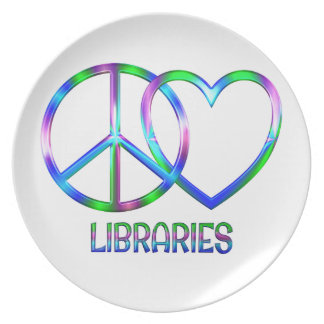 Bibliothèques brillantes d'amour de paix assiettes en mélamine