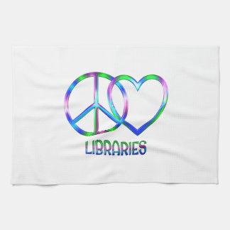 Bibliothèques brillantes d'amour de paix serviette pour les mains