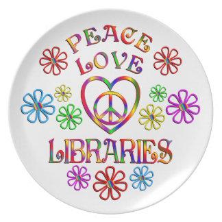 Bibliothèques d'amour de paix assiettes en mélamine