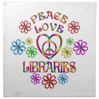 Bibliothèques d'amour de paix serviettes de table