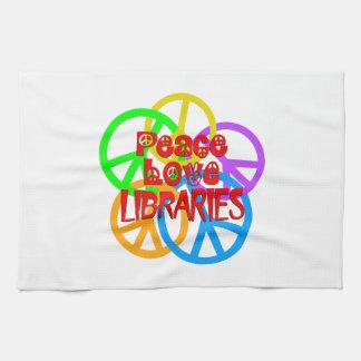 Bibliothèques d'amour de paix serviettes éponge