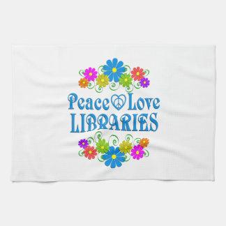 Bibliothèques d'amour de paix serviettes pour les mains