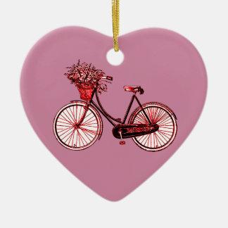 Bicyclette 2 ornement cœur en céramique