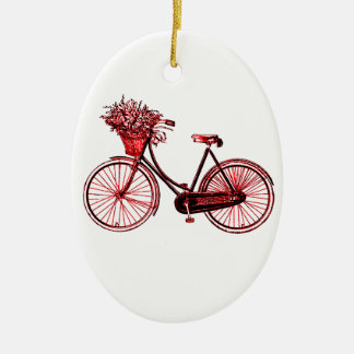 Bicyclette 2 ornement ovale en céramique