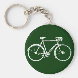 bicyclette blanche porte-clé rond