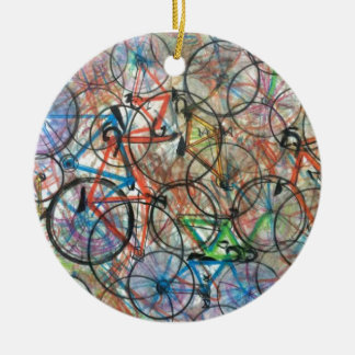 Bicyclette de bicyclette que je veux monter mon ornement rond en céramique
