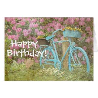 Bicyclette de carte de joyeux anniversaire vieille