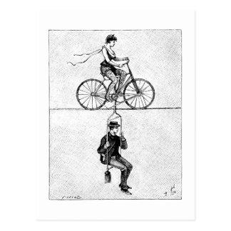 Bicyclette de corde raide - acte de recyclage de carte postale