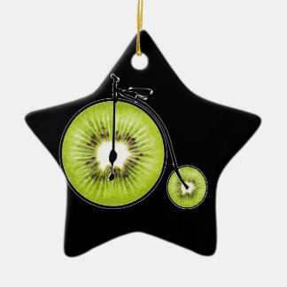Bicyclette de kiwi ornement étoile en céramique