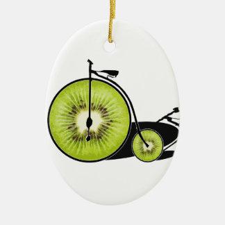 Bicyclette de kiwi ornement ovale en céramique