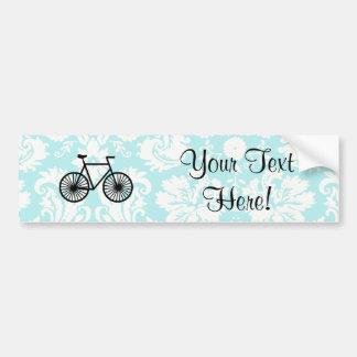 Bicyclette de motif de damassé ; Teal Autocollant Pour Voiture
