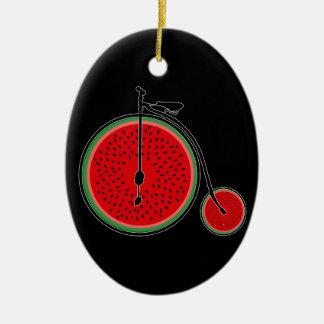 Bicyclette de pastèque ornement ovale en céramique