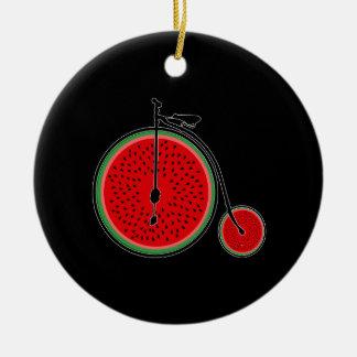 Bicyclette de pastèque ornement rond en céramique