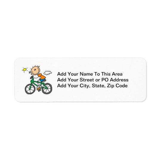 Bicyclette d'équitation - mâle étiquette d'adresse retour