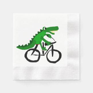Bicyclette drôle d'équitation d'alligator serviettes en papier