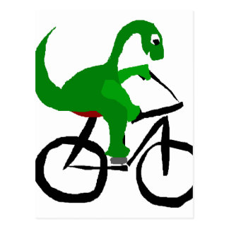 Bicyclette drôle d'équitation de dinosaure vert cartes postales