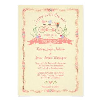 Bicyclette, oiseaux et mariage tandem de bannière carton d'invitation  12,7 cm x 17,78 cm