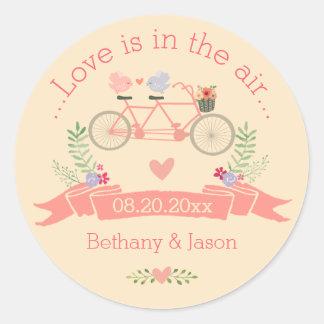 Bicyclette, oiseaux et mariage tandem de bannière sticker rond