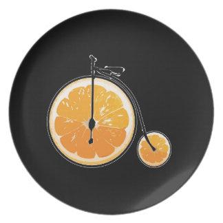 Bicyclette orange assiettes en mélamine