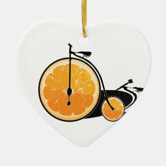 Bicyclette orange ornement cœur en céramique