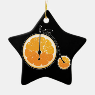 Bicyclette orange ornement étoile en céramique