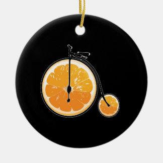 Bicyclette orange ornement rond en céramique