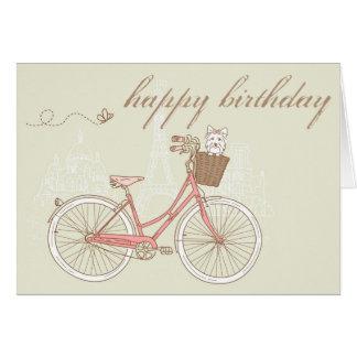 Bicyclette rose avec la carte de joyeux