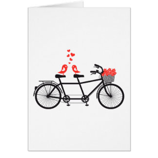 bicyclette tandem avec les inséparables mignons carte de vœux