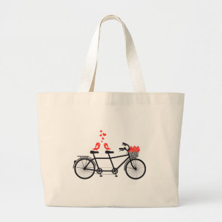 bicyclette tandem avec les inséparables mignons grand sac