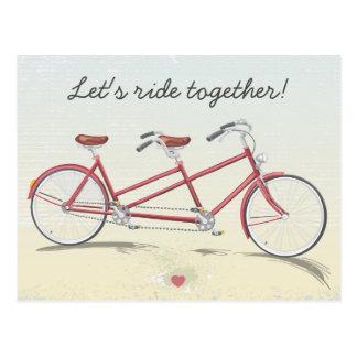 Bicyclette tandem vintage carte postale