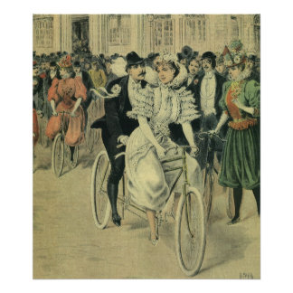 Bicyclette victorienne vintage de tandem de tour d posters