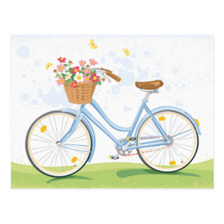 Bicyclette vintage avec le panier de fleur cartes postales
