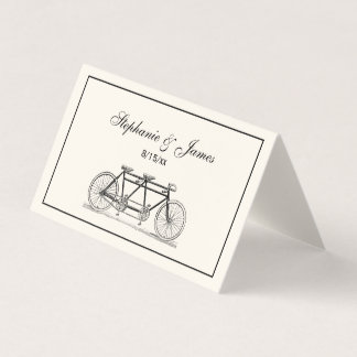 Bicyclette vintage construite pour deux/ivoire carte de placement