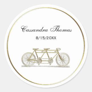 Bicyclette vintage construite pour deux/or tandem sticker rond